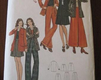 Vintage 70s Butterick 6799 Misses Jacket, Skirt in 3 lengths and Pants sz 12 B34 UNCUT