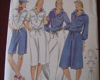 Vintage Butterick 5253 Misses Sailor Top Skirt Pants and Shorts Pattern sz 12 UNCUT