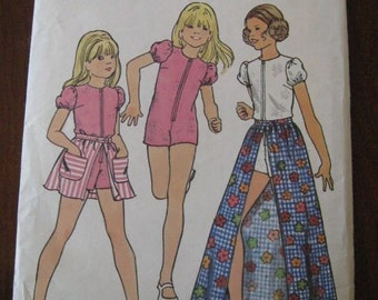 Vintage 70s Butterick 6712 Girls Jumpsuit and Skirt sz 7 B 26