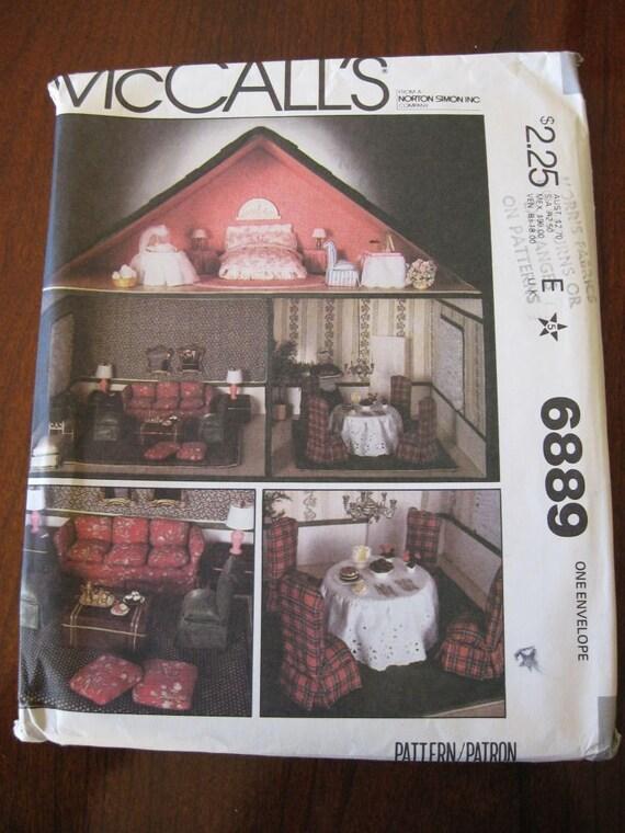 Vintage 70s Mccalls 6889 Doll House Furniture Craft Pattern