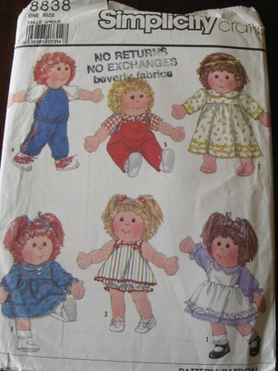 Vintage 80s Simplicity 8838 Soft Sculpture Doll Clothes