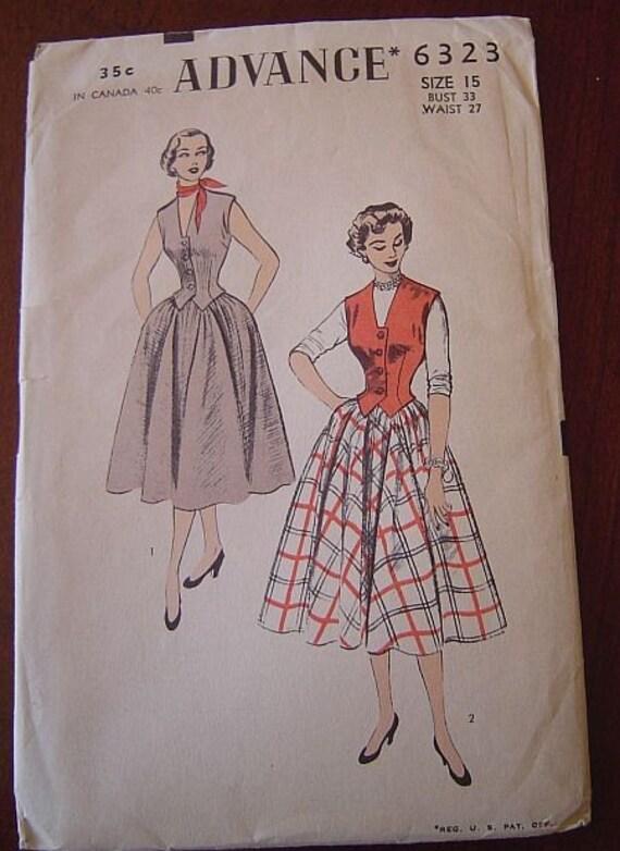 Vintage 50's Advance 6323 Weskit and Full Skirt Pattern UNPRINTED sz 15 B33