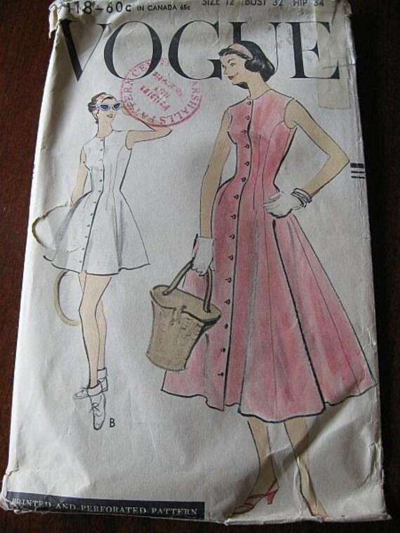 Vintage 50s Vogue 9118 Misses Dress and panties Pattern sz 12 B 32
