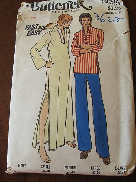 Vintage 70s Butterick Mens Caftan and Top Sewing Pattern Sz Small 34-36