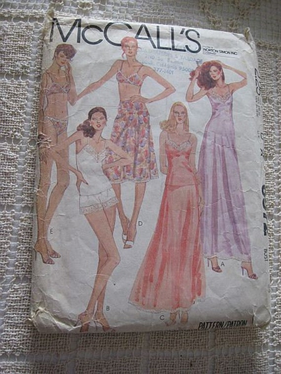 Vintage 70s McCalls 6972 Misses Slip or Camisole, half Slip, Bra, Panties and Bikini Pattern sz  12 B 34