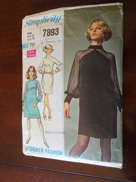 Vintage 60s Designer Dress Pattern Simplicity 7898 Sz 12 B34