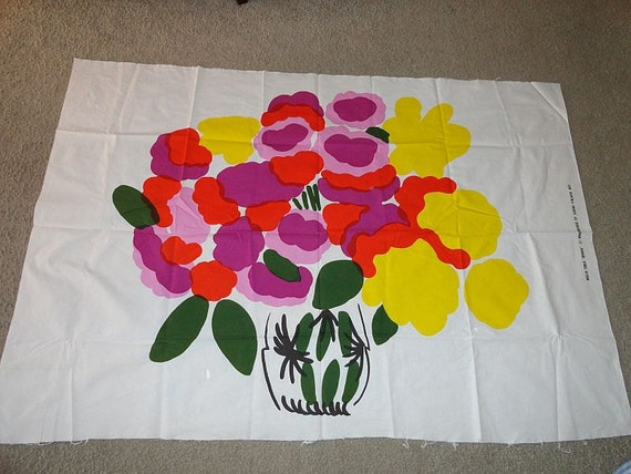 Vintage 1970s MARIMEKKO Maija Isola Onnea Hand Screened Fabric Panel Flower Vase