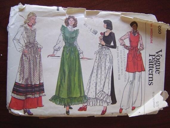 Vintage Vogue 9050 Misses Apron Pattern sz M