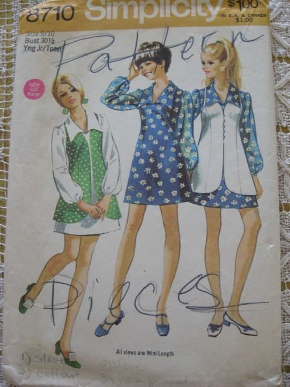 Vintage 70s Simplicity 8710 Mini Dress and Vest Pattern sz 9/10 B30.5