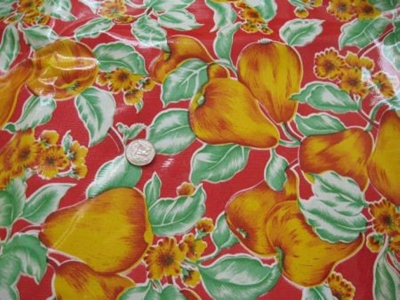 Beautiful Pear and floral Oilcloth Charoplex Fabric Tablecloth