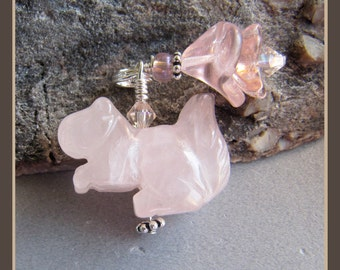 Rose Quartz Pink Squirrel Pole Cat Skunk Charm
