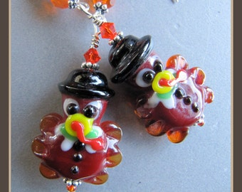 Pilgrim Turkey Thanksgiving Earrings by Cornerstoregoddess