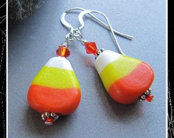 Lampwork Candy Corn Halloween Earrings EHAG