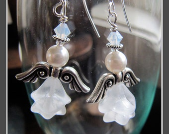 Sterling Pressed Glass Christmas Angelito Angel Earrings by Cornerstoregoddess