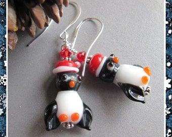 Cornerstoregoddess Christmas Stocking Stuffer Santa Penguin Earrings