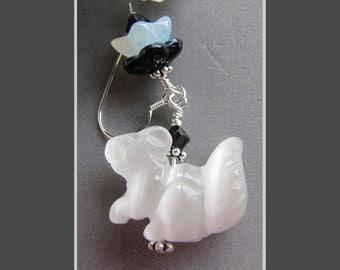 Cats Eye Glass Squirrel Pole Cat Skunk Earrings by Cornerstoregoddess