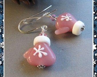 Cornerstoregoddess Christmas Stocking Stuffer Pink Winter Mitten Earrings