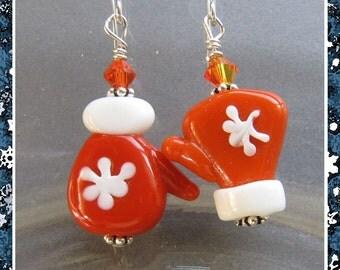Cornerstoregoddess Lampwork Glass Crystal Orange Winter Mitten Earrings