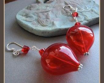 Red Lampwork Glass Heart Love Valentine Earrings from Cornerstoregoddess