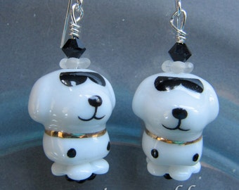 Porcelain Cool Joe Puppy Dog Earrings by Cornerstoregoddess