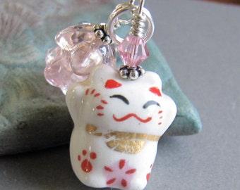 Maneki Neko Lucky Fortune Kitty Cat Charm Zipper Pull by Cornerstoregoddess