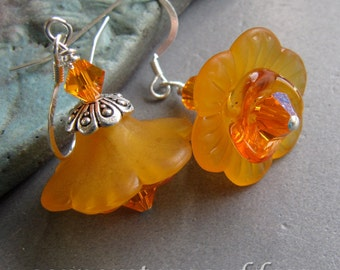 Orange Hyacinth Spring Flower Earrings