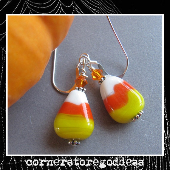 Lampwork Candy Corn Halloween Earrings EHAG by Cornerstoregoddess