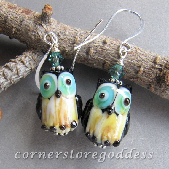 Cornerstoregoddess Lampwork Hoot Barn Spotted Owl Earrings