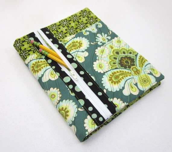 Refillable Blank Book Journal with Zipper Pocket- Blue Green Fantasy