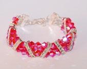 3 Strand Swarovski Hyacinth AB 2X Crystal Pyramid Triangle Hot Pink Bracelet