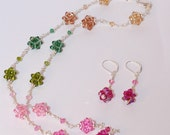 Tourmaline Swarovski Wire Wrapped Crystal Ball  Necklace and Earrings
