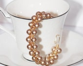 Swarovski 14kt Gold Filled Cuff Bronze Pearl and Golden Shadow AB Crystal