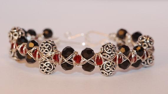 Georgia Swarovski Cuff Crystal Bracelet Siam Jet Sterling Silver