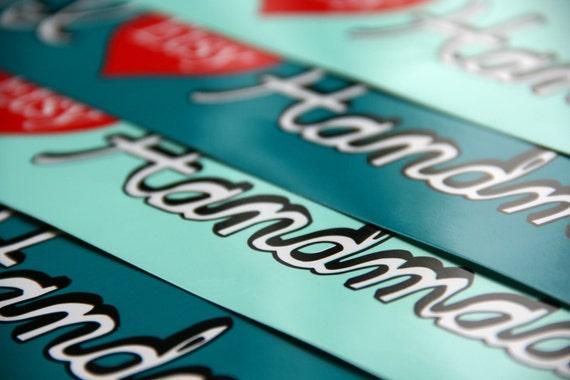 Etsy Bumper Stickers, I Heart Handmade Design (Set of 10)