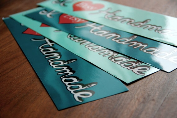 Etsy Bumper Stickers, I Heart Handmade Design (Set of 4)