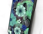 "iPhone 4 case - iPhone 4s case -  SLIM hard case with blue and green tropical island floral art ""Flaura Oceana"""