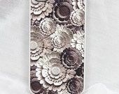 "iPhone 4 case - iPhone 4s case - white SLIM hard cover with stone flower art ""Medusa's Garden"""