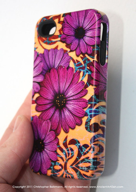 "Apple iPhone 4 case / iPhone 4s TOUGH case with ""purple daisy damask"" floral artwork"