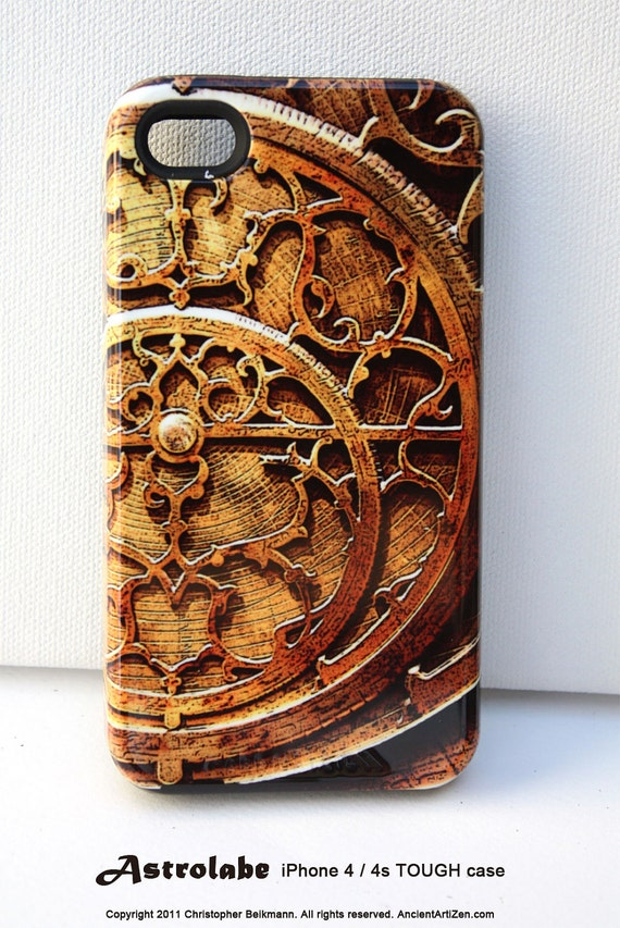iPhone 4 case - iPhone 4s case - iPhone TOUGH hard case - Steam punk - old scientific art iPhone case in gold tones - Astrolabe