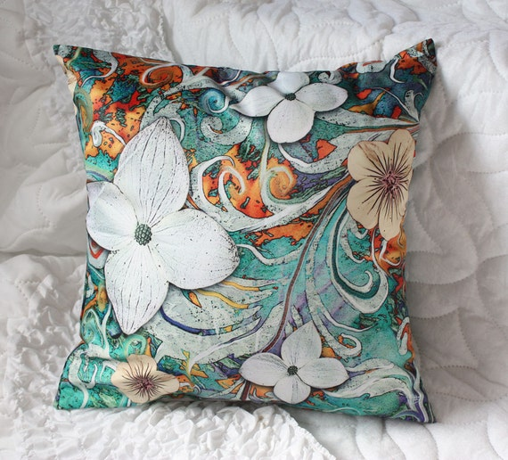floral throw pillow 18 turquoise orange and white by fusionidol. Black Bedroom Furniture Sets. Home Design Ideas