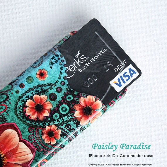 "iPhone 4 case - iPhone 4s case - Card ID holder iphone case with teal green and orange floral art "" Paisley Paradise """