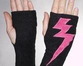 Black Fleece Handwarmer with Hot Pink Lightning Bolt Applique- Small