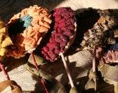 Hand Hooked Wool Flowers........ Valentine Sale