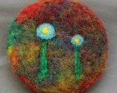 Two Flowers Needle Felted Wool Pin