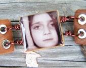 Leather band wood tile personalized photo bracelet