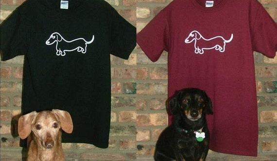 Whimsical Wiener Dachshund T-Shirt 2 Colors