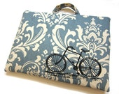 Laptop Bag - Vintage Bicycle on Slate Damask Linen- Custom Sizing Available - Handmade