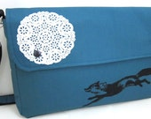 Messenger Bag Fox and Lace on Midnight Blue