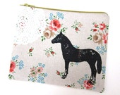 Horse and Lace on Floral Linen - Mustard Zipper - Handmade