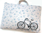 Laptop Bag - Vintage Bicycle on Floral Linen - Custom Sizing Available - Handmade